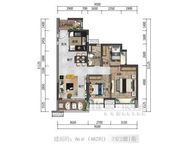 時代美宸 3房2廳 平面圖